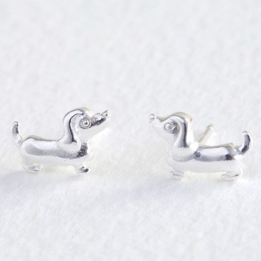 Dachshund Earrings For Women Silver Small Stud Wiener Dog Jewelry NEW