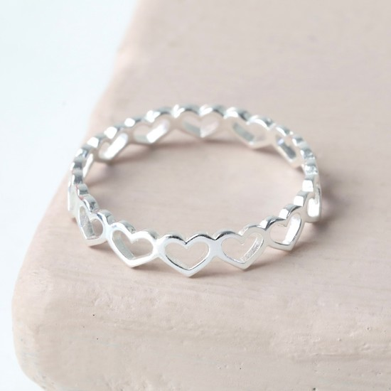 Sterling Silver Heart Outline Ring - M/L