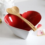 Personalised Sagaform Heart Bowl and Wooden Ladle Set