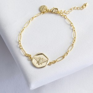 Gold Wax Seal Bee Bracelet