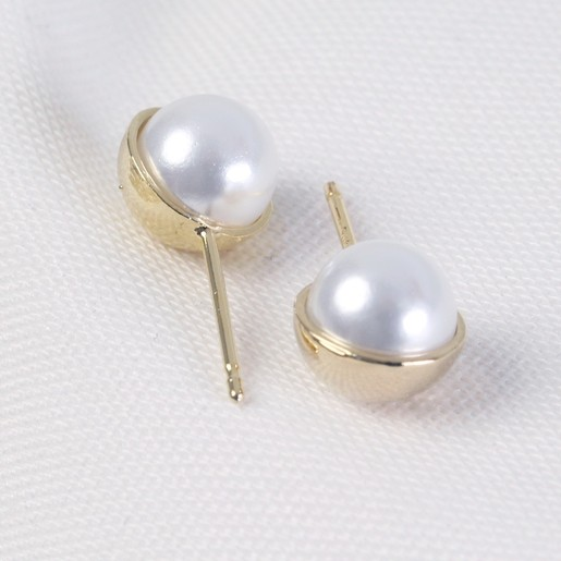 c9942c5ba Ladies' Classic White Pearl and Gold Ball Stud Earrings