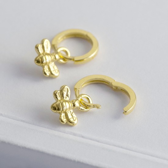 Gold Sterling Silver Bee Huggie Hoop Earrings