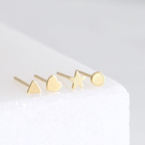 Set of 4 Tiny Gold Sterling Silver Shape Earrings