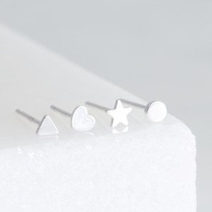 Set of 4 Tiny Sterling Silver Shape Earrings