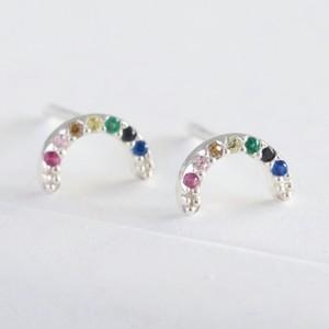 Sterling Silver Crystal Rainbow Stud Earrings