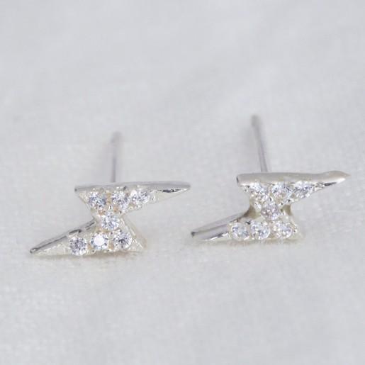 Sterling Silver Crystal Lightening Bolt Stud Earrings Lisa Angel