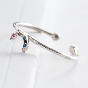 Sterling Silver Crystal Rainbow Ring