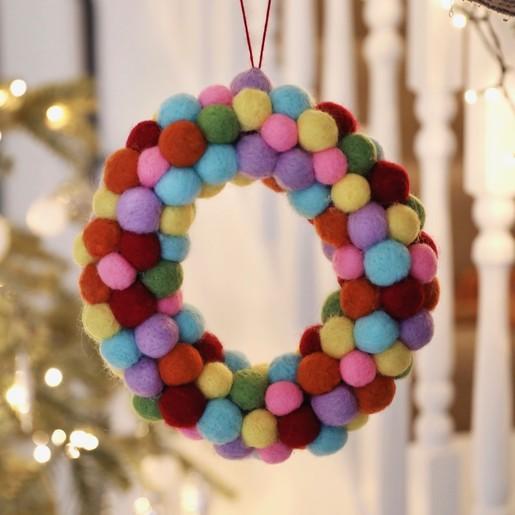 Multicoloured Pom Pom Round Jewelry//Trinket Box New-Gifts//Weddings//Xmas stocking