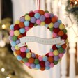 Lisa Angel Colourful Festive Personalised Pom Pom Wreath Hanging Decoration