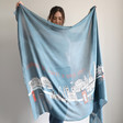 Illustrated London Skyline Scarf with Model