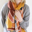 Personalised Lightweight Rainbow Stripe Scarf on Model