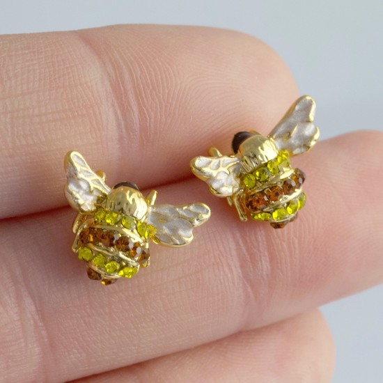 Gold Crystal Bee Stud Earrings
