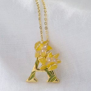 Floral Initial Necklace in Gold - A