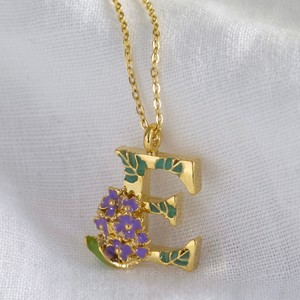 Floral Initial Necklace in Gold - E