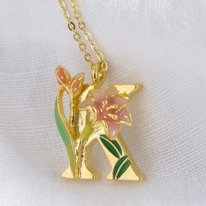 Floral Initial Necklace in Gold - K