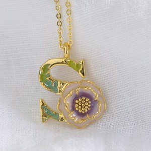 Floral Initial Necklace in Gold - S