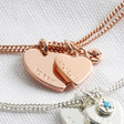 Lisa Angel Rose Gold Personalised Heart and Double Birthstone Charm Bracelet