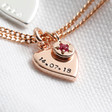 Lisa Angel Rose Gold Personalised Heart and Birthstone Charm Bracelet