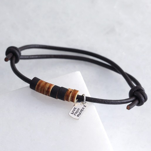 Mens Personalised Wooden Beads Morse Code Leather Bracelet