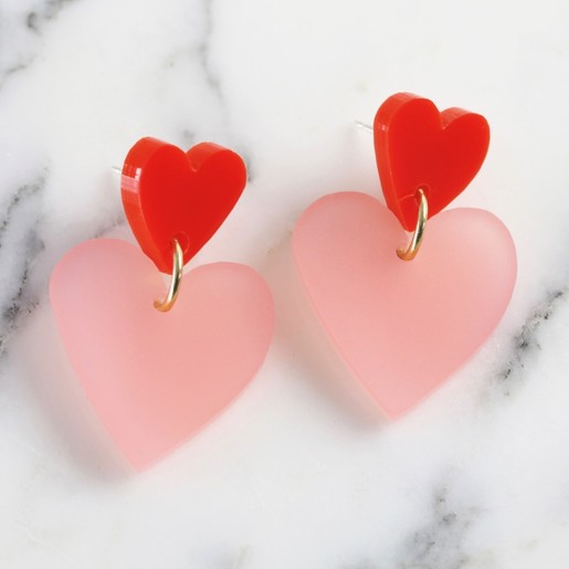 8e9f54dea19 Lisa Angel Ladies  Valentine s Day Acrylic Heart Drop Earrings