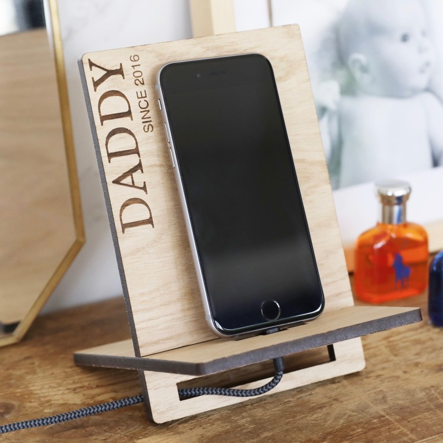 Personalised Daddy Since Wooden Phone Holder Lisa Angel