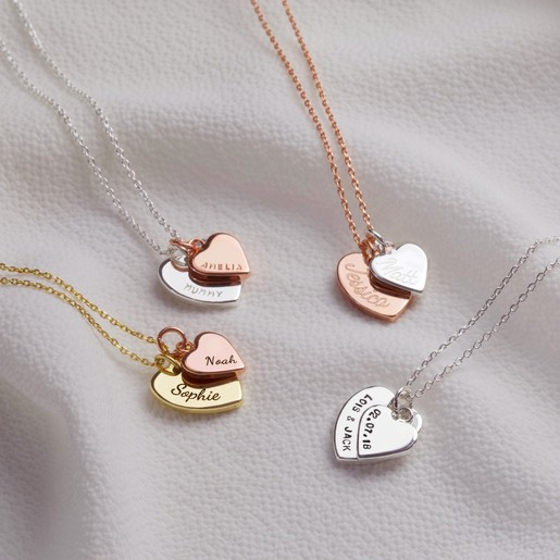 49a72d836a7bd Personalised Double Heart Charm Necklace