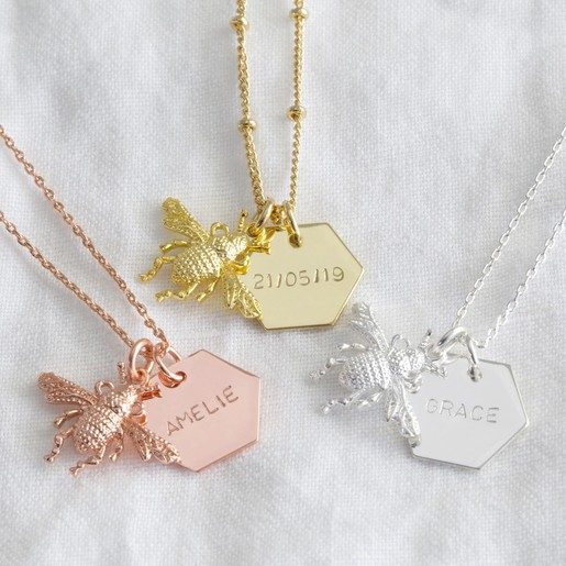 6f89dce1a511c Personalised Bumblebee Pendant Necklace