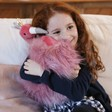 Lisa Angel with Plush Jellycat Fancy Flamingo Fluffy Cushion