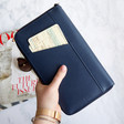 Lisa Angel with Ladies' Kikki.K Leather Travel Wallet with Zip: Navy