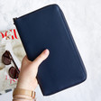 Lisa Angel with Kikki.K Real Leather Travel Wallet with Zip: Navy