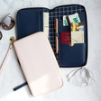 Lisa Angel with Kikki.K Leather Travel Wallets with Zips: Navy and Pink