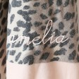 Lisa Angel Ladies' Embroidered Personalised Pink Edge Leopard Print Scarf