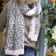 Lisa Angel Ladies' Soft Pink Edge Leopard Print Scarf