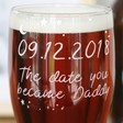 Personalised Engraved 'Daddy Date' Pint Glass