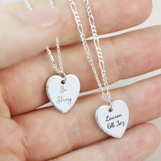 e482f6dd85 Lisa Angel Delicate Engraved Lisa Angel Ladies' Engraved Personalised  Sterling Silver Hammered Heart Necklace