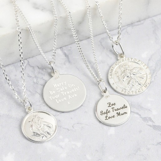 1cb476c4d57f6e Lisa Angel Unisex Personalised Sterling Silver St Christopher Pendant  Necklace