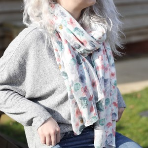 Watercolour Floral Scarf in White