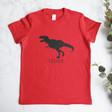 Lisa Angel Festive Kid's Personalised Red Christmas Dinosaur T-Shirt