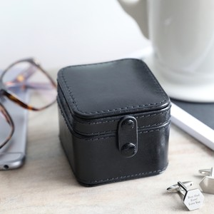 Men's Black Travel Cufflink Box