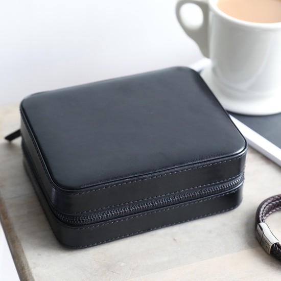 Men's Black Travel Jewellery Box