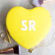 Teens Personalised Block Initials Heart Travel Jewellery Case in Yellow
