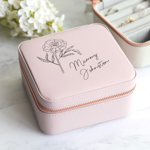 Personalised Birth Flower Square Travel Jewellery Box
