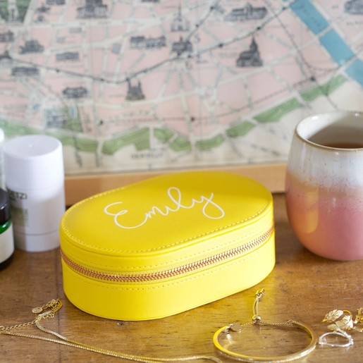 Personalised Oval Travel Jewellery Box In Yellow
