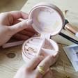 Inside of Lisa Angel Lavender Purple Personalised Mini Round Travel Jewellery Case