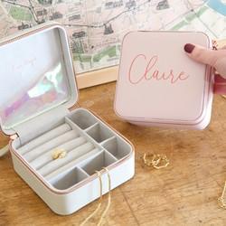 Personalised Square Travel Jewellery Box
