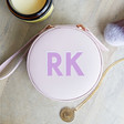 Lisa Angel Lavender Personalised Block Initials Mini Round Travel Jewellery Case