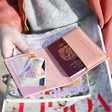 Lisa Angel Ladies' Open Passport Sleeve in Peach Pink with Model