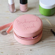 Lisa Angel Pink Personalised Mini Round Travel Jewellery Case
