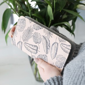 Large Pink Palm Print Zip Around Wallet