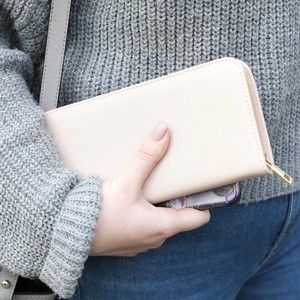Large Zip Around Wallet in Dusky Pink